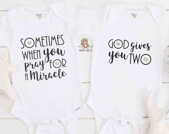 Twin Pregnancy Announcement - Sometimes When You Pray For a Miracle, God Gives You Two - Twins Matching Onesies® - Twins Reveal Set of 2