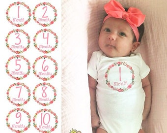 Baby Girl Monthly Onesies® Set of 3, 5 or 12 (Colorful Floral Design) - Add Baby's Name - Baby Girl's First Year - Custom Newborn Gift Set