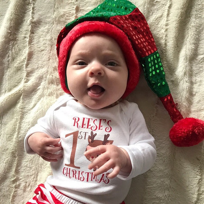 Add baby/'s Name Baby/'s First Christmas Baby Onesie\u00ae It/'s My First Christmas Baby Christmas Grow Baby/'s 1st Christmas Bodysuit