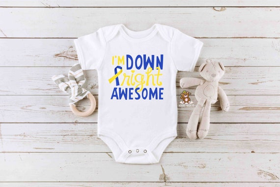 Down syndrome awareness baby clothing newborn T21 bodysuit Baby bodysuit Down right beautiful