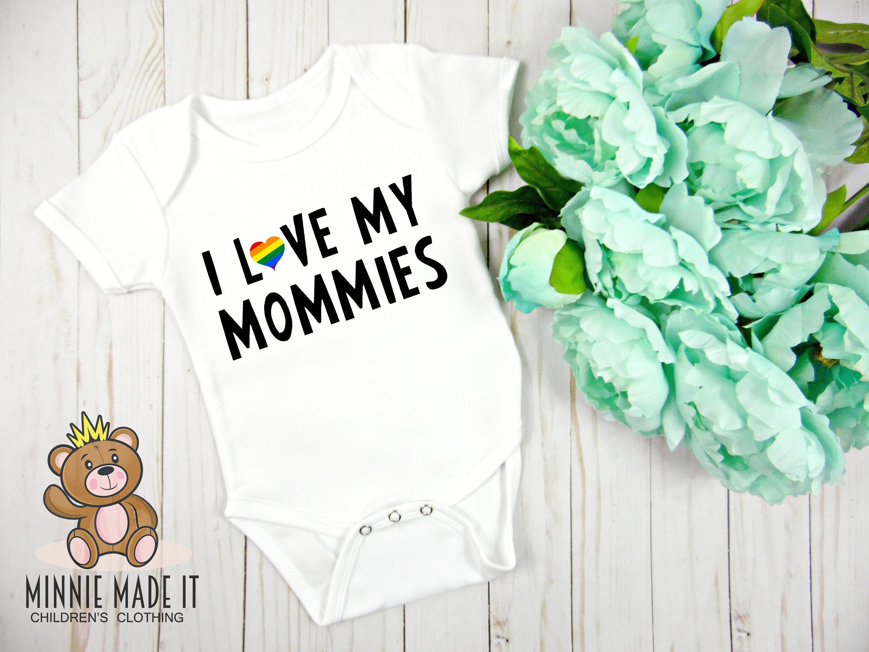 Tstars I Love My Moms Gay Pride Infant Valentines Baby Bodysuit
