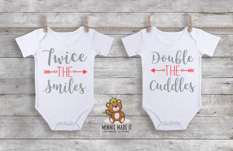 42429db62 Twice The Smiles Double the Cuddles Matching Twins Onesies®