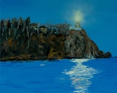 Painting of night lake an...