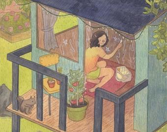 Treehouse Original Illustration Painting