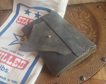dbe389c36e7 Handmade upcycled Waxed Canvas and Raw edge Leather Shot Bag pouch   Forage  pouch   Walnut dyed Bush craft bag. Vintage Shot Bag.