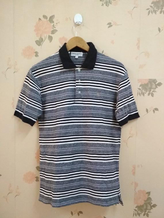 Vintage YSL Striped Polo Tshirt M Size
