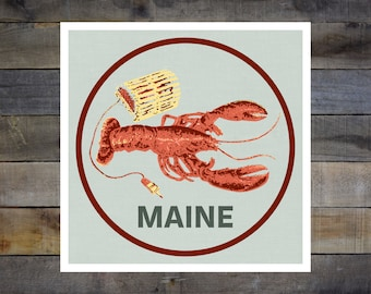 Maine Lobster 8in-8in Giclee Print