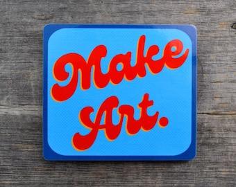 Make Art. Groovy Text Vinyl Sticker