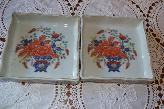 Set of two vintage chinese astrays with beautiful