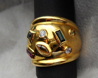 Late 80's Italian Vermeil  Ring Fabroso with embedded Swarovsky cystals.  Maker's mark and percentage engraved