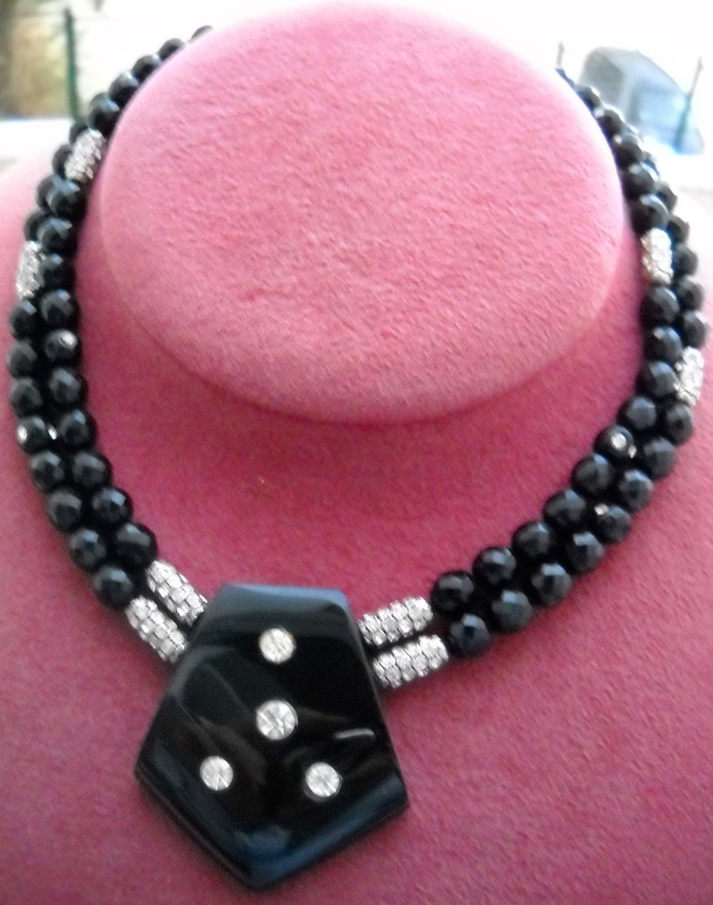 Fantastic Clasp in crystals. 60/'s Czechoslovak Necklace; Two laps Black Glass Crystal Beads with  an irregular pentagonal shape in center