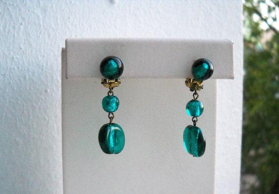 30s French Dangle & Drop lampwork earrings. Clip o