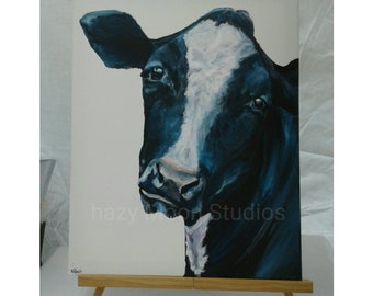 Cow with the wandering eyes, Dairy cow, black and white cow, cow face, cow painting, cow face painting