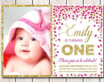 1st Birthday Invitation With Photo Girl Printable Hot Pink Gold Confetti Invites Invite