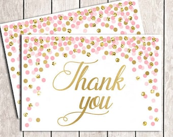 4x6 Thank You Card Printable Girl's Birthday Thank You Cards Pink Gold Confetti Thank You Card Gold Pink Thank You Cards 4x6
