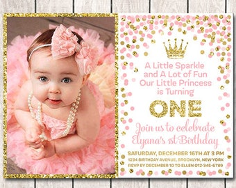 1st Birthday Invitation Printable Girl With Picture Pink Gold Confetti Princess Photo