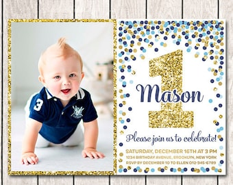 1st birthday invitations boy etsy boy 1st birthday invitation with picture birthday invitation printable blue navy and gold confetti invitation personalized invite filmwisefo