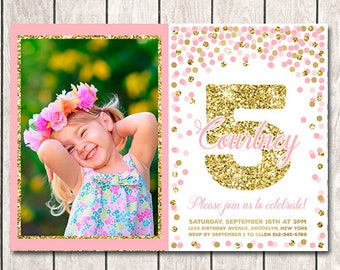 5th Birthday Invitation Printable Fifth Invite With Picture Pink And Gold Confetti Girl Invitations Any Age Photo