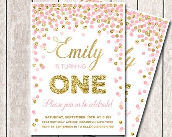 Pink gold invitation etsy first birthday invitation girl birthday invitation pink gold confetti invitation printable gold glitter pink invitation any age filmwisefo