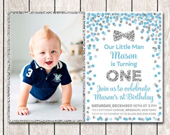Little Man Birthday Invitation With Picture 1st Boy Printable Blue Silver Confetti