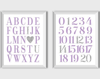 Set of 2 Prints Alphabet And Numbers Prints Nursery Printable Decor Purple Gray ABC & 123 Print Lavender Nursery Decor Baby Girl Nursery Art