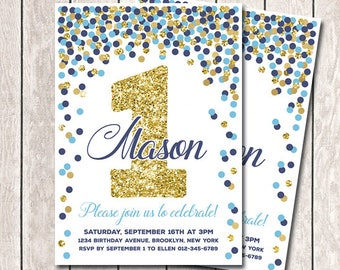 1st birthday invitations boy etsy blue navy gold confetti birthday invitation 1st birthday invitation boy 1st birthday invitations printable navy gold gold invitation filmwisefo