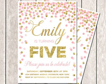 Pink gold invitation etsy fifth birthday invitation girl birthday invitation pink gold glitter confetti invitation printable 5th birthday invitation pink invitation filmwisefo