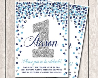 Silver Navy And Baby Blue Invitation 1st Birthday Boy Invites Printable Confetti Party