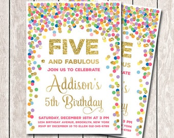 5th Birthday Invitation Girl Printable Rainbow And Gold Confetti Five Fabulous