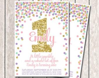 First Birthday Invitation Girl Birthday Invitation Pink Mint Purple Gold Confetti Invitation Printable 1st Birthday Invites Pink Lavender