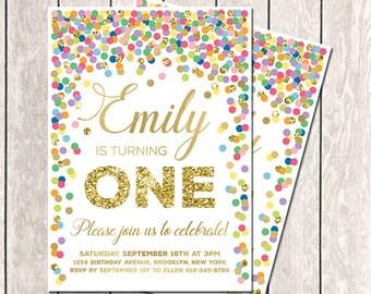 First Birthday Invitation Rainbow Invite Confetti Invitation Printable 1st Birthday Invite Colorful Invitation Any Age Rainbow Birthday