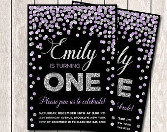 Girl Birthday Invitation 1st Birthday Invitation Purple And Silver Confetti Invitation Printable Any Age Invitation Lavender And Silver
