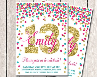 13th Birthday Invitation Hot Pink Teal And Gold Confetti Girl Printable