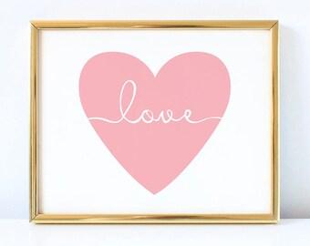 Heart Sign Printable Pink Nursery Wall Art Love And Heart Decor Heart And Love Decorations Baby Girl Nursery Prints