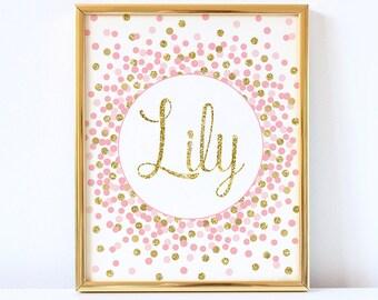 Girl Name Sign Custom Name Sign Printable Pink Gold Baby Girl Nursery Decor Girl Name Print Custom Name Sign Pink And Gold Nursery Wall Art