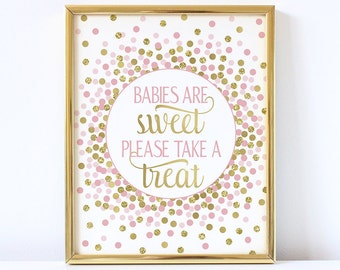 Babies Are Sweet Please Take a Treat Sign Printable Pink And Gold Confetti Girl Baby Shower Sign Girl Baby Shower Favor Sign Treat Sign