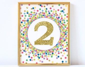 2nd Birthday Sign 2 Sign Two Sign Printable 2nd Birthday Party Decor Second Birthday Sign Rainbow And Gold Confetti Party Decorations