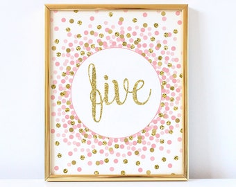 Five Sign Printable Fifth Birthday Party Decorations 5th Pink And Gold Confetti Girl