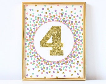 4th Birthday Sign Number 4 Printable Print Party Decorations Pink Mint Gold Confetti Girl Decor