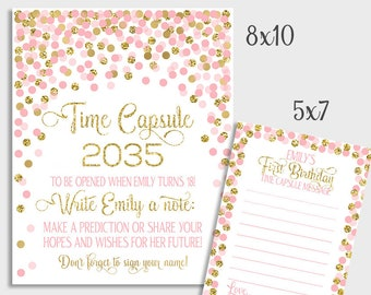 time capsule sign first birthday confetti pink and gold time capsule sign time capsule sign message cards 1st birthday time capsule