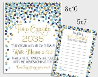 Capsule De Temps Signe Bleu Argent Confettis Time Capsule Etsy
