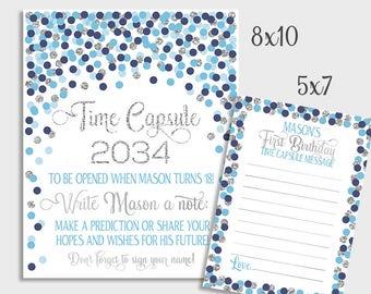 Capsule De Temps Signe Bleu Confettis Or 1er Anniversaire Ou Etsy