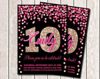10th Birthday Invitation For Girl Invites Printable Hot Pink Rose Gold Confetti Invitations Any Age Black