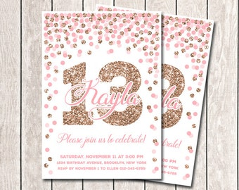 Pink And Rose Gold Confetti Birthday Invitation Girl 13th Printable Glitter Party Any Age