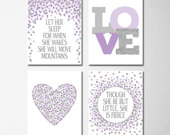 Purple Gray Nursery Etsy