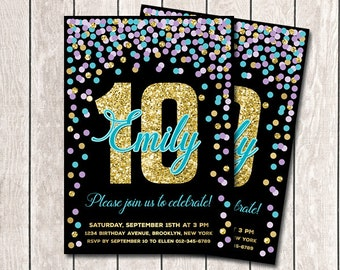 Birthday Invitation Printable Girl Turquoise Purple Gold Confetti 10th Invites Personalized Any Age
