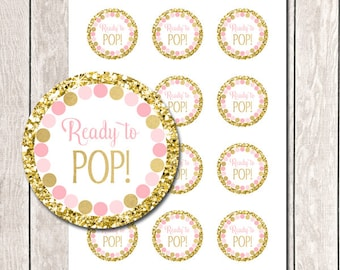 Ready To Pop Tags Pink And Gold Printable Girl Baby Shower Round Favor Labels Stickers