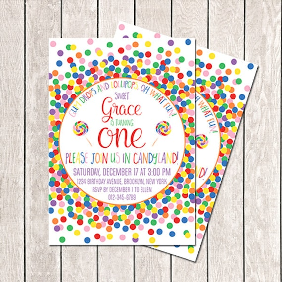 Candy Invitation Birthday First Confetti Sweet Shop