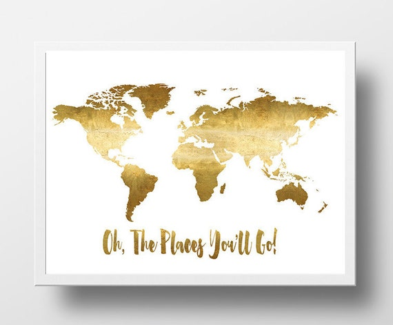 Oh the places youll go printable world map poster gold etsy image 0 gumiabroncs Gallery