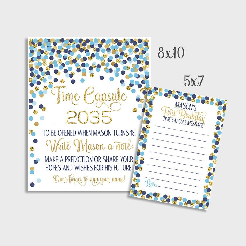 Bleu Marine Confettis Or Time Capsule Signe Message Cartes